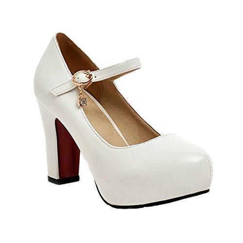 Latasa Womens Platform Block High Heels Mary Jane Pumps Shoes White