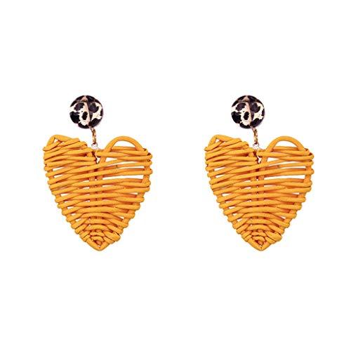 Rattan Geometric Love Heart Earrings Personality Bohemian Pattern Ladies Jewelry Dangle Drop Earrings