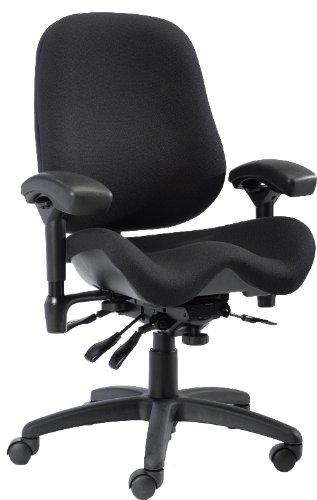 BodyBilt J2502 Black Fabric High Back Thoracic Support Task Ergonomic Chair with Arms, 22