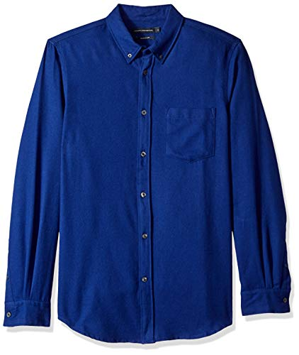 (French Connection Men's Long Sleeve Flannel Stripe Button Down Shirt, Fluro Blue)