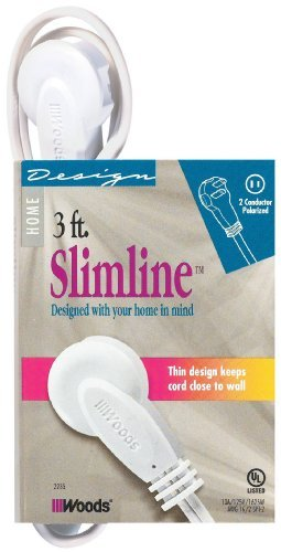 SlimLine 2235 Flat Plug Extension Cord, 2-Wire, White, 3-Foot by Coleman Cable (Coleman Slimline compare prices)