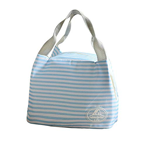 ONLY TOP Lunch Bags,Insulated Cold Canvas Stripe Picnic Carry Case Thermal Portable Lunch Bag for Women Kids Sky Blue