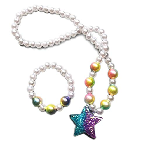 s Little Girls White Pearl with Star Necklace Bracelet Set Party Favor Pretend Costume Jewelry ()