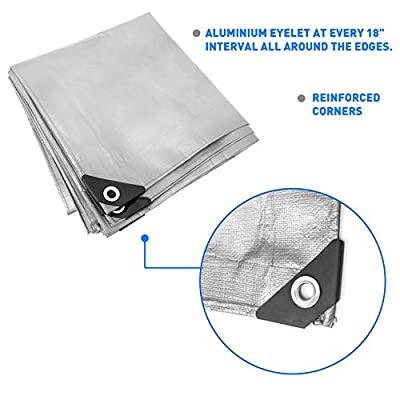 EasyGoProducts EGP-NCR-TARP2-M Hercules Tent Shelter Cover Waterproof Tarpaulin Plastic Tarp Protection Sheet for Con (-8x10-Sliver)