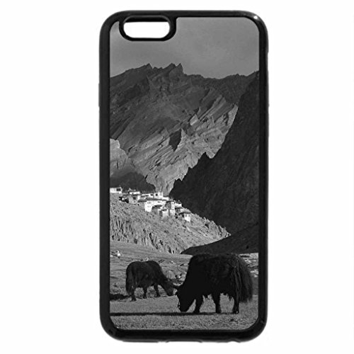 iPhone 6S Case, iPhone 6 Case (Black & White) - yaks by a tibetan river