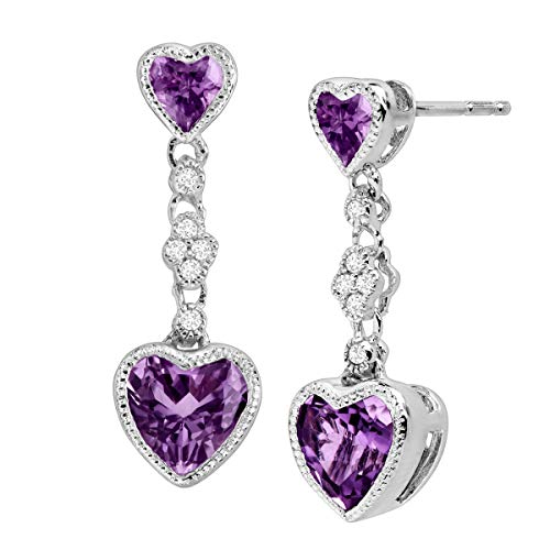 Natural Amethyst Double Heart Drop Earrings with Created White Sapphires in Sterling -