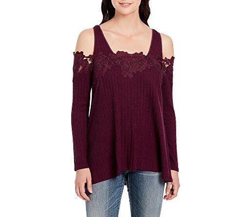 Vintage America Blues Cold Shoulder Floral Lace Top Potent Purple (Potent Blend)