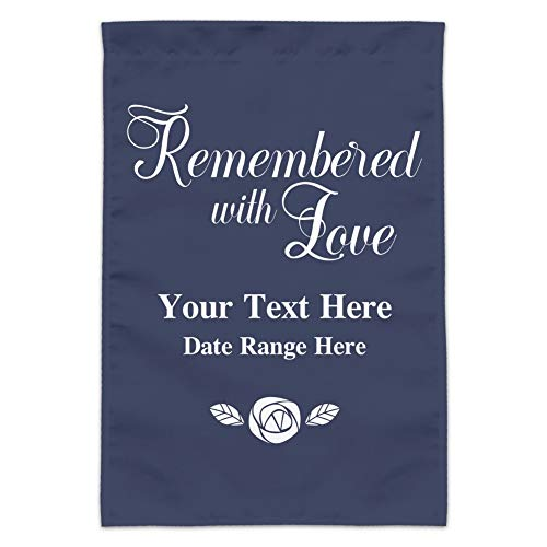 GRAPHICS & MORE Personalized Custom 2 Line Remembered with Love Rose Memorial Garden Yard Flag