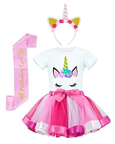 JiaDuo Girls Costume Rainbow Tutu Skirt with Unicorn Shirt, Headband & Satin Sash Rose M ()