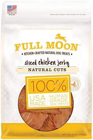 Full Moon All Natural Human Grade Dog Treats, Natural Cut Jerky, Sliced Chicken