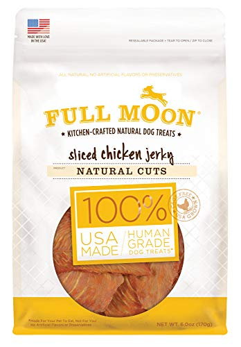 (Full Moon All Natural Human Grade Dog Treats, Natural Cut Jerky, Sliced Chicken, 6 Ounce)