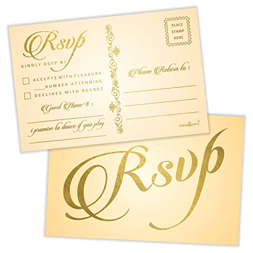 (RSVP Postcards (Pack of 50) Gold Foil Stamping with Mailing Side 4