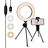 6.3'' Selfie Ring Light with Tripod Stand,Juhefa LED Camera Light with Cell Phone Holder for YouTube Video,Photography,Makeup,Desktop LED Lamp Compatible with iPhone & Android. (3-Light Mode)