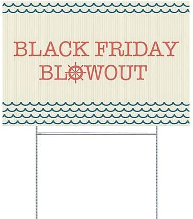 27x18 Nautical Wave Double-Sided Weather-Resistant Yard Sign Black Friday Blowout CGSignLab 5-Pack
