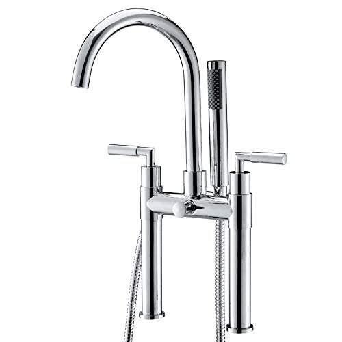 JiaYouJia Deck Mount Clawfoot Tub Filler Faucet with Metal Lever Handles and Built-in Diverter - Includes Personal Hand Shower and Rough in Valve (Tub Clawfoot Mount Faucet)
