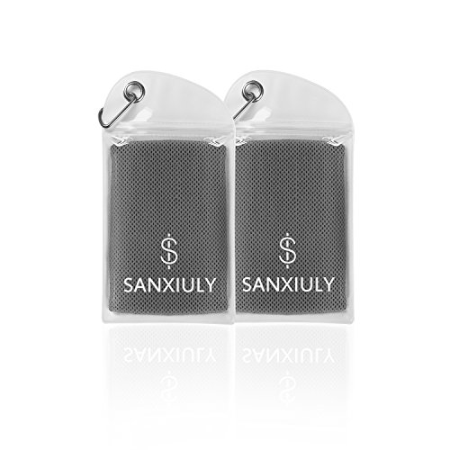 SANXIULY Cooling Towel for Sports, Workout, Fitness, Gym, Yoga, Pilates, Travel, Camping,Hiking,Running,Golf & More Pack of 2