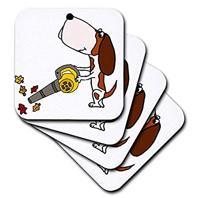 3dRose All Smiles Art - Pets - Cute Funny Unique Basset Hound Dog using Leaf Blower - Coasters