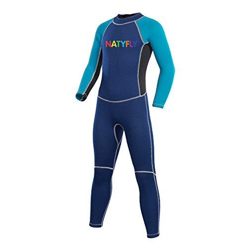 "NATYFLY Neoprene Wetsuits for Kids Boys Girls Back Zipper One Piece Swimsuit UV Protection-Brand (Blue-2MM-Long Sleeve, XL-for Height 52""-57"")"