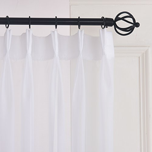Pleated Sheer Pinch Drapes - Linen Yarn-Pinch Pleated Drapes-Sheer Curtains 72W by 84L Inches-White