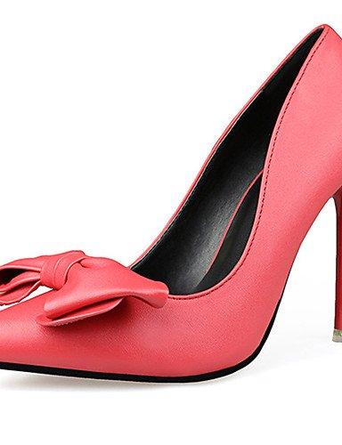 GGX/Damen Schuhe Leder Frühjahr/Herbst Spitz Toe Heels Hochzeit Stiletto Heel Schleife Schwarz Gelb Pink Rot Weiß pink-us5 / eu35 / uk3 / cn34
