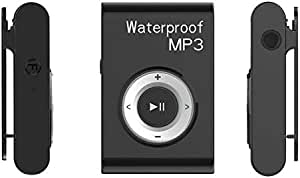 WZY IPX8 Waterproof Swimming Diving Sports MP3 Music Player with Clip & Earphone, Support FM, Memory:4GB(White) (Color : Black)