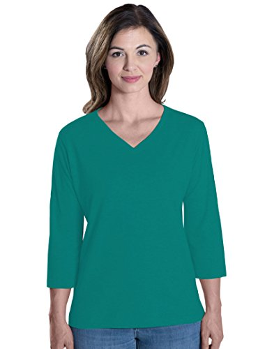 LAT Apparel Ladies 3/4 Sleeve Jersey Tee  Jade Green V-Neck