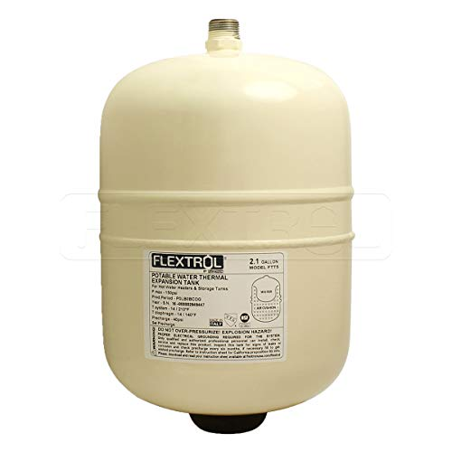 Flextrol FTT5 Thermal Expansion Tanks-for Hot Water Heaters, Carbon Shell, Stainless Steel 3/4 Inch MIP Connection, Butyl Diaphragm, 150 PSI, 210 Degrees Fahrenheit, Almond Color, 2.1 Gallons (Water Stainless Steel Hot Tank)