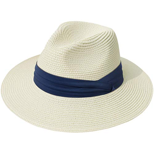 Lanzom Women Wide Brim Straw Panama Roll up Hat Fedora Beach Sun Hat UPF50+ (Z-Navy Ribbon Beige)