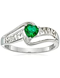 Sterling Silver Created Gemstone and Diamond Accent Mom Heart Ring