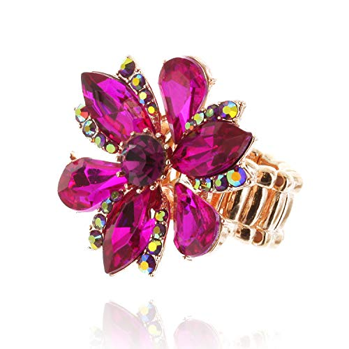 SP Sophia Collection Five Petal Flower Stretch Adjustable Ring Embellished with Round Marquise and Tear Drops in Fuchsia Pink