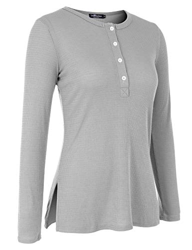 (Uniboutique Womens Blouse Casual Long Sleeve Side Split Button Down Knit Tunic Top Gray S )