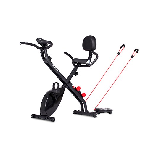 4-in-1 Folding Upright Exercise Bike with Pulse and Backrest , Resistance Band, Dumbbell, Bodytwister for Body Workout