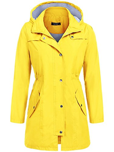 SoTeer Waterproof Raincoat Women Lightweight Packable Rain Jacket Hooded Outdoor Windbreaker (Yellow, L)