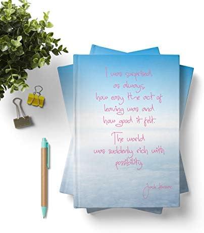 42thinx Notizbuch Zitat Jack Kerouac Auf Himmel Mit Wolken DIN A5 blanko I Notizblock mit Hardcover 128 Seiten mit Designcover I Hochwertiges Journal mit Lesezeichen I Notizblock gebunden Motiv