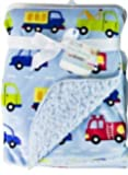 Baby Blanket Soft Colourful Mink Sherpa Lining Printed Design 0months+ 30° Wash - Blue Cars
