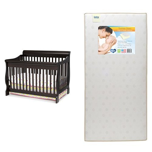Delta Children Canton 4-in-1 Crib, Dark Chocolate with Twinkle Stars Crib & Toddler Mattress