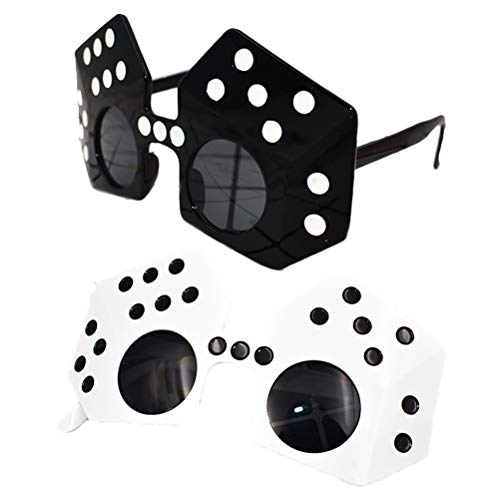 PRETYZOOM 2pcs Funny Glasses Party Dice Shape Sunglasses Costume Cosplay Novelty Eyewear for Las Vegas Casino Party Favors (Black White) Casino Las Vegas Glass