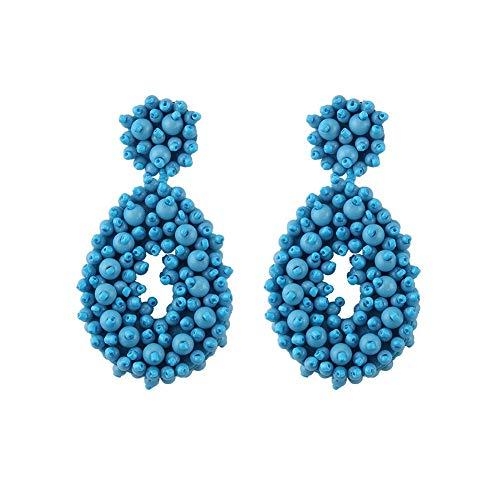 FAUOI Beaded Statement Earrings for Women Bohemian Large Hoop Beaded Dangle Earrings Blue Earrings ()