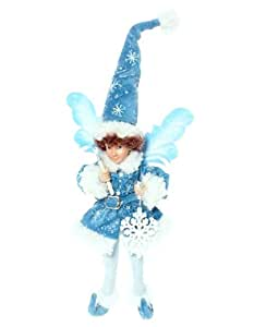 """16"""" Winter Frost Posable Jack Frost Fairy Christmas Ornament"""