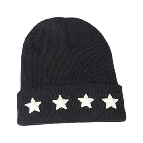 Black Velour Bowler Hat - Changeshopping Children Kids Boys Girls Warm Simple Star Knitted Cap Hats 2-7T
