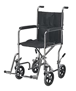 Duro-Med Steel Folding Transport Chair, Chrome, 19 Inch Seat