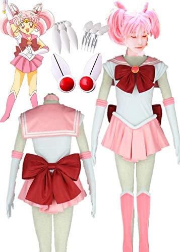 YOUYI Sailor Moon Sailor Chibi Moon Halloween Cosplay Costume Small Lady Chibiusa Halloween (3XS-Child -