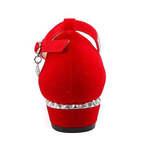 AllhqFashion Damen Schnalle Mattglasbirne Spitz Zehe Niedriger Absatz Rein Pumps Schuhe Rot