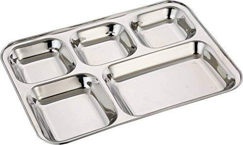(Royal Sapphire 5 Compartment Stainless Steel Plates | Stainless Steel Divided Plates | Cafeteria Food Tray | Rectangular Divided Dinner Plate with a Free Spoon)