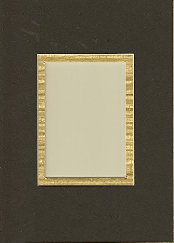 Pack of 10 5x7 Black & Gold Double Picture Mats with White Core Bevel Cut for 2.5 X 3.5 Aceo or Sport Card