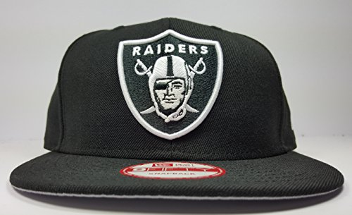 New Era Los Angeles Raiders 9Fifty Black and White Solid Basic Logo Adjustable Snapback Hat NFL
