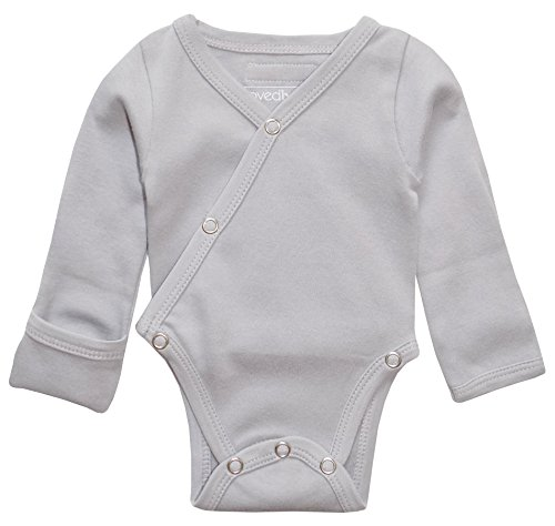 (L'ovedbaby Unisex Baby Organic Cotton Kimono Bodysuit (3-6 Months, Light Gray))