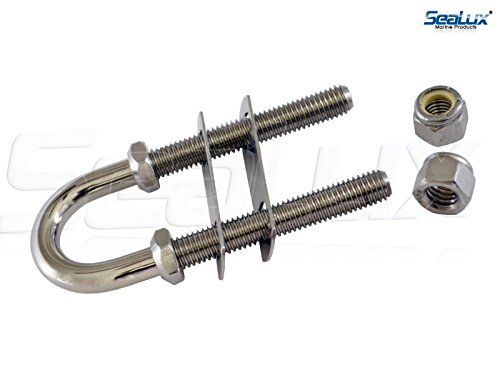 """SeaLux Marine Boat Bow Eye Stern Eye U Bolt Tie Down 1/2"""" Stock, 5-1/4"""" Length, with Nyloc Nuts and washers  -SL87805852"""