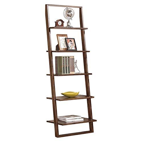 Walnut Burnished Cabinet (MIK Wood Bookcase with 5 Shelves - Ladder Design Bookcase - Burnished Brownstone)