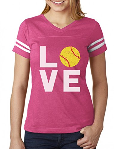 TeeStars - Love Softball - Gift for Softball Fans Women Football Jersey T-Shirt Medium Pink/White - Pink Softball Jerseys